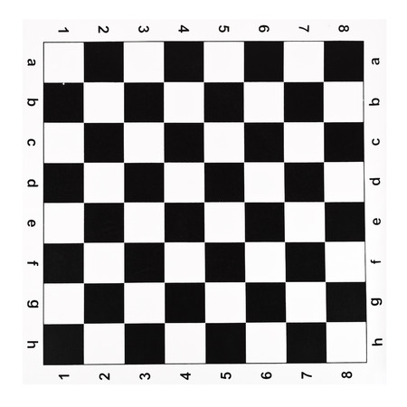 flat vinyl chessboard with black and white checks isolated on white background photo