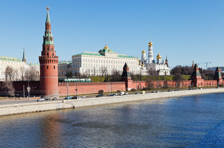 view of Kremlin, embankment, Moskva river in Moscow in spring day photo
