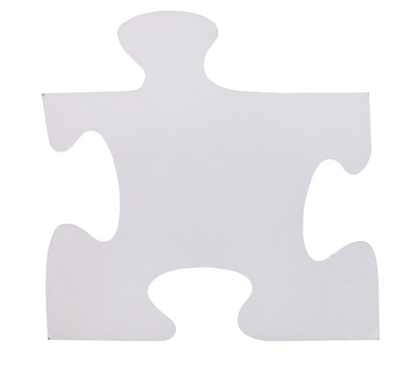close fitting: one white piece of jigsaw puzzle isolated on white  Stock Photo