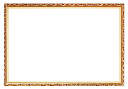 narrow carved ancient gold wooden picture frame with cut out canvas isolated on white  photo