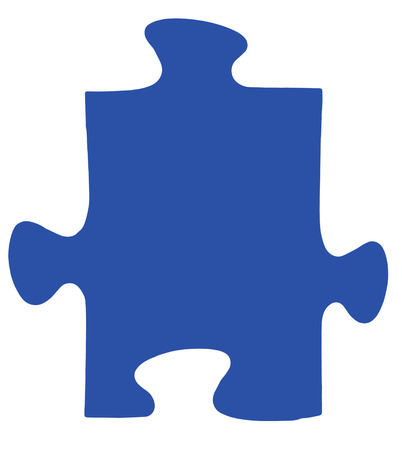 one dark blue piece of jigsaw puzzle isolated on white background photo