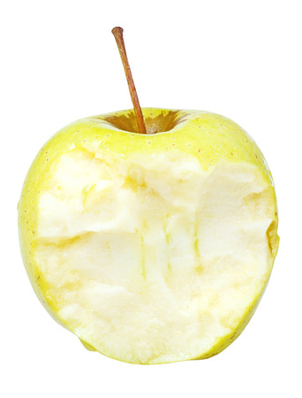 yeloow: half of yeloow golden delicious apple isolated on white background