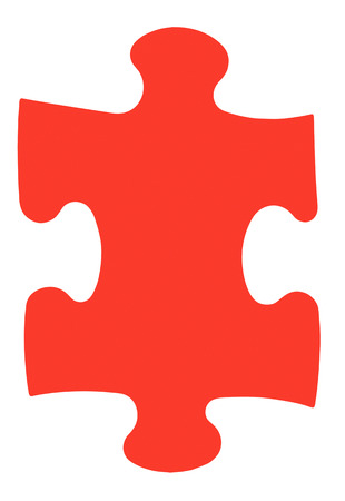 close fitting: one red piece of jigsaw puzzle isolated on white background Stock Photo