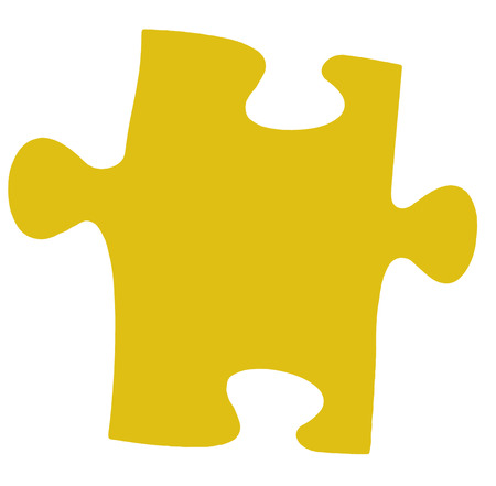 close fitting: one flat yellow piece of jigsaw puzzle isolated on white background