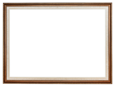 classic carved wooden picture frame with cut out canvas isolated on white background photo
