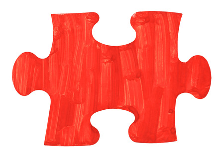 close fitting: one red painted piece piece of jigsaw puzzle isolated on white background