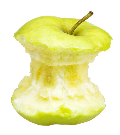 granny smith: core of granny smith apple isolated on white background