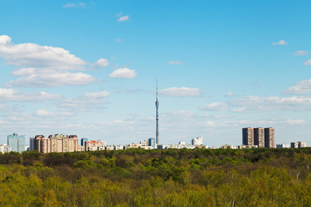 spring skyline with TV tower and urban park in Moscow, Russia photo