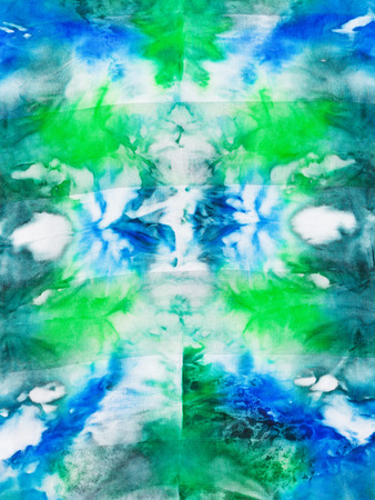 nodular: batik - abstract green and blue ornament on silk fabric