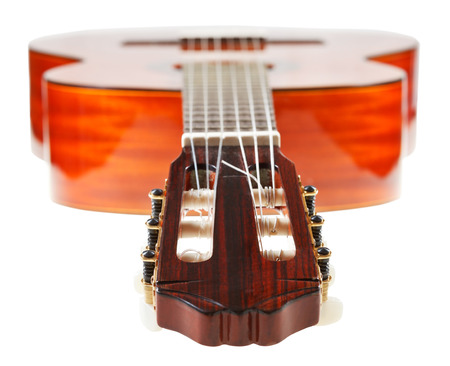 pegheads: headstock of classical acoustic guitar