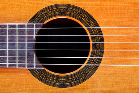 inlay: sound hole with rosette inlay of classical acoustic guitar close up Stock Photo