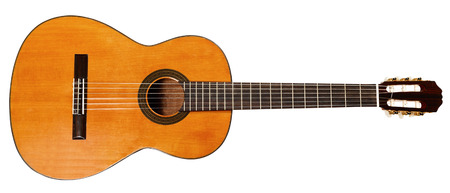 full view of spanish acoustic guitar isolated photo
