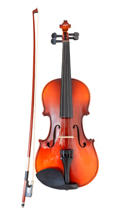 fiddlestick: classical wooden violin with french bow isolated