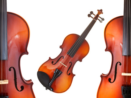 halfs and full classical modern violins isolated on white background photo