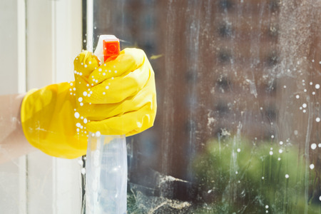 cleaning window from spray glass cleaner bottle photo