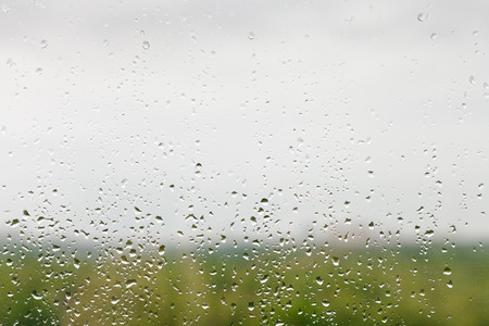 soppy: rain drops on window pane with green forest and overcast sky background