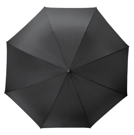 top view of open black umbrella isolated on white background photo
