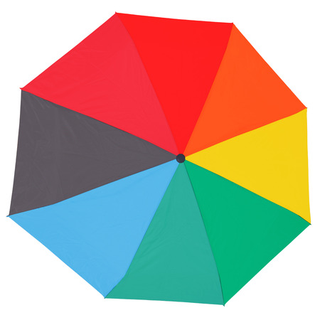 top view of open multicolored umbrella isolated on white background photo