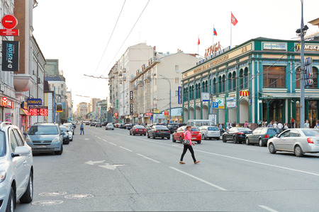 MOSCOW, RUSSIA - JUNE 3, 2014  Dolgorukovskaya and Novoslobodskaya Streets in Moscow, Russia in summer evening  These streets are the part of historical road from Moscow to Dmitrov