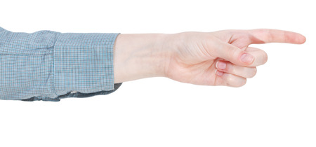pointed arm: pointing forefinger - hand gesture isolated on white background Stock Photo