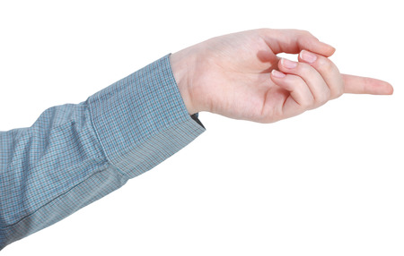 pointed arm: pointing by forefinger - hand gesture isolated on white background Stock Photo