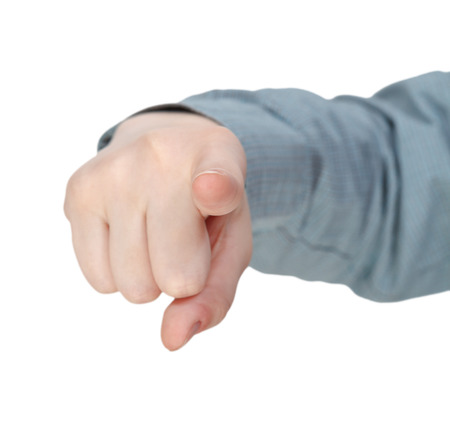 pointed arm: front pointed forefinger - hand gesture isolated on white background