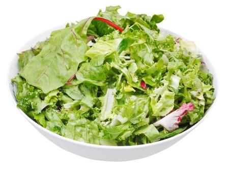 fresh italian lettuce mix in bowl isolated on white background photo