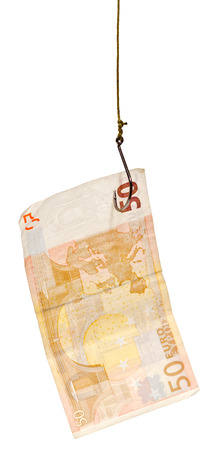 allurement: fishing with 50 euro banknote lure on fishhook isolated on white background Stock Photo