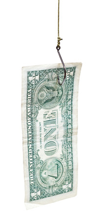 fishing with one dollar banknote bait on fishhook isolated on white background photo