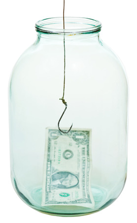 one dollar money and fishhook in glass jar isolated on white background photo