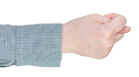 side view of finger fig sign - hand gesture isolated on white background photo