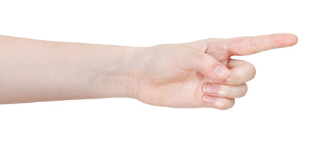 pointed arm: side view of pointing forefinger - hand gesture isolated on white background