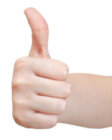 front view of thumb up - hand gesture isolated on white background