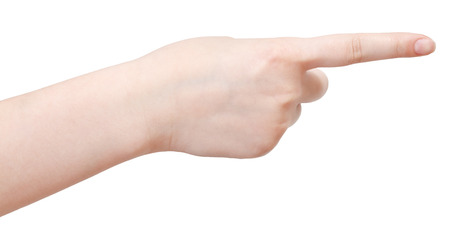 pointed arm: account one - hand gesture isolated on white background