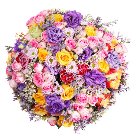 bunch of flowers: above view of bunch of flowers from roses and chrysanthemums isolated on white background Stock Photo
