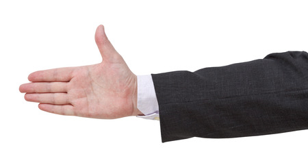 suit  cuff: inviting by open palm - hand gesture isolated on white background Stock Photo