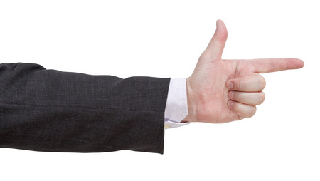 gun sign - hand gesture isolated on white background photo