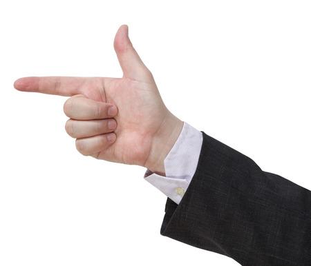 handgun sign - hand gesture isolated on white background photo