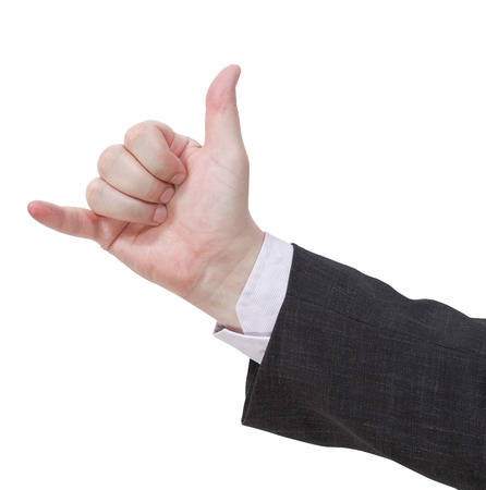 hang loose: hang loose - hand gesture isolated on white background Stock Photo