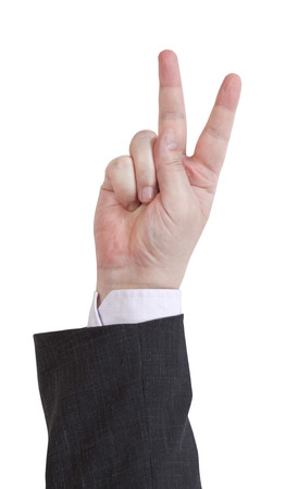 two fingers counting - hand gesture isolated on white background photo
