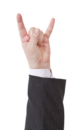 horns fingers sign - hand gesture isolated on white background photo