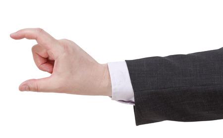medium size: showing of medium size - hand gesture isolated on white background Stock Photo