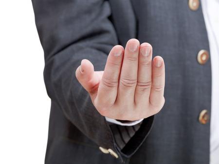 invitando: hombre de negocios atractivo - gesto de la mano aisladas sobre fondo blanco