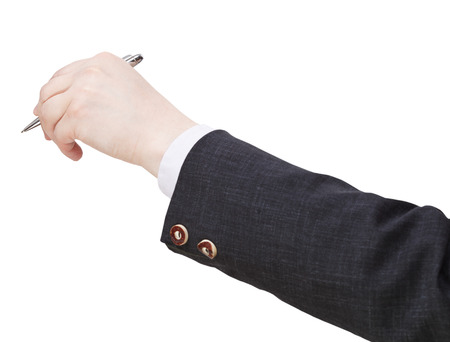 businessman hand with silver pen isolated on white background photo