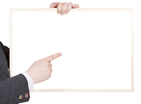 explanations: blank billboard in seller hand isolated on white background