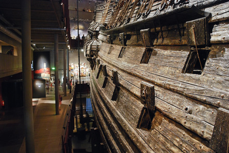 STOCKHOLM, SWEDEN - AUGUST 10, 2009: interior of Vasa museum. Museum displays the only almost fully intact 17th century 64-gun warship Vasa