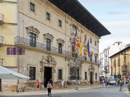 PALMA DE MALLORCA, SPAIN - AUGUST 7, 2013: Town Hall in city Palma de Mallorca. The Town Hall is housed in a palace that was originally in the sixteenth century, a Gothic hospital