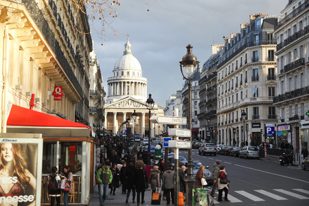 rue: PARIS, FRANCE - DECEMBER 10, 2011: view of Pantheon through Rue Soufflot. Soufflot street was called Rue du Pantheon in the French Revolution , and was renamed in 1807 Soufflot Editorial