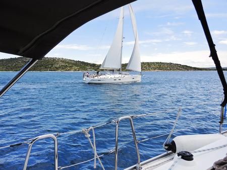 yachting in Adriatic sea, Dalmatia, Croatia in sunny day photo