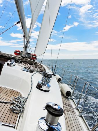 yacht is tacking in blue Adriatic sea, Dalmatia, Croatia photo